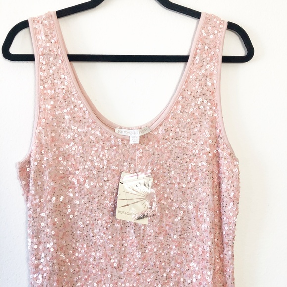 Boston Proper Tops - NWT Boston Proper Baby Pink Sequin Beaded Tank Top